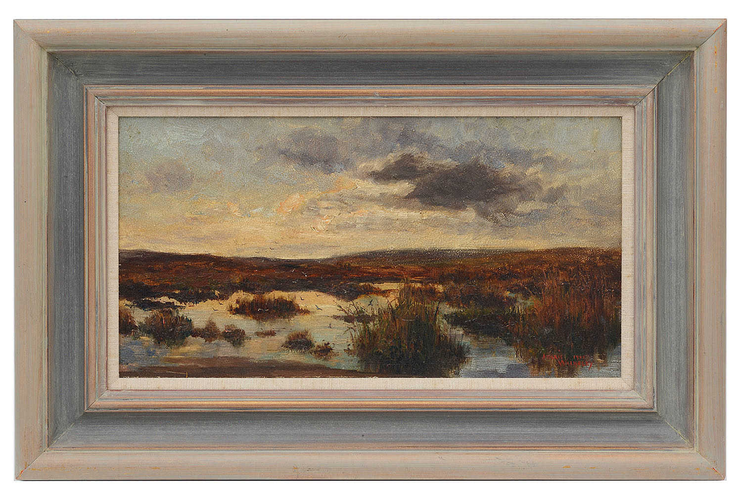 Lot 60 - James Ulric Walmsley (Brit., 1860-1954) 'Evening on the moors, Robin Hood's Bay', oil on board