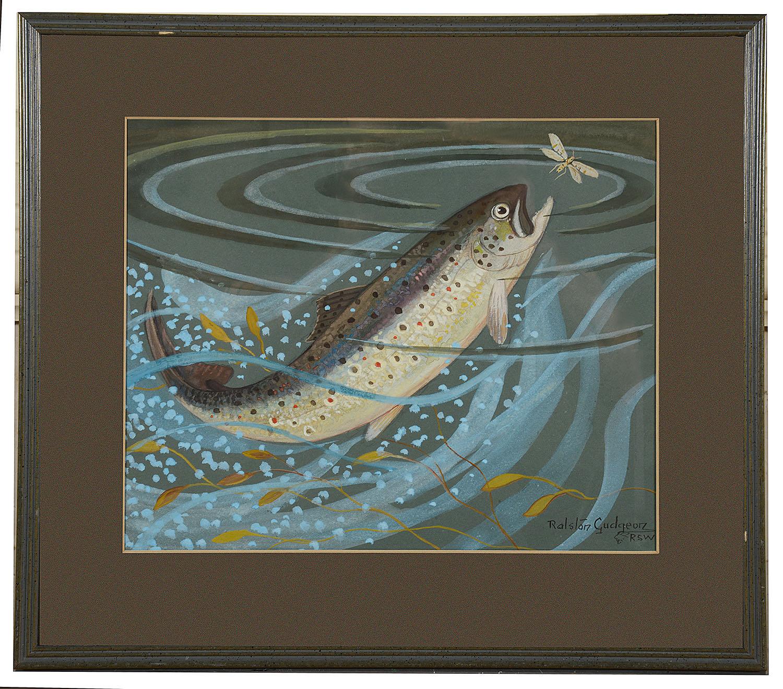 Lot 53 - Ralston Gudgeon RSW (Scot. 1910-1984) 'Rising salmon' signed lower right watercolour