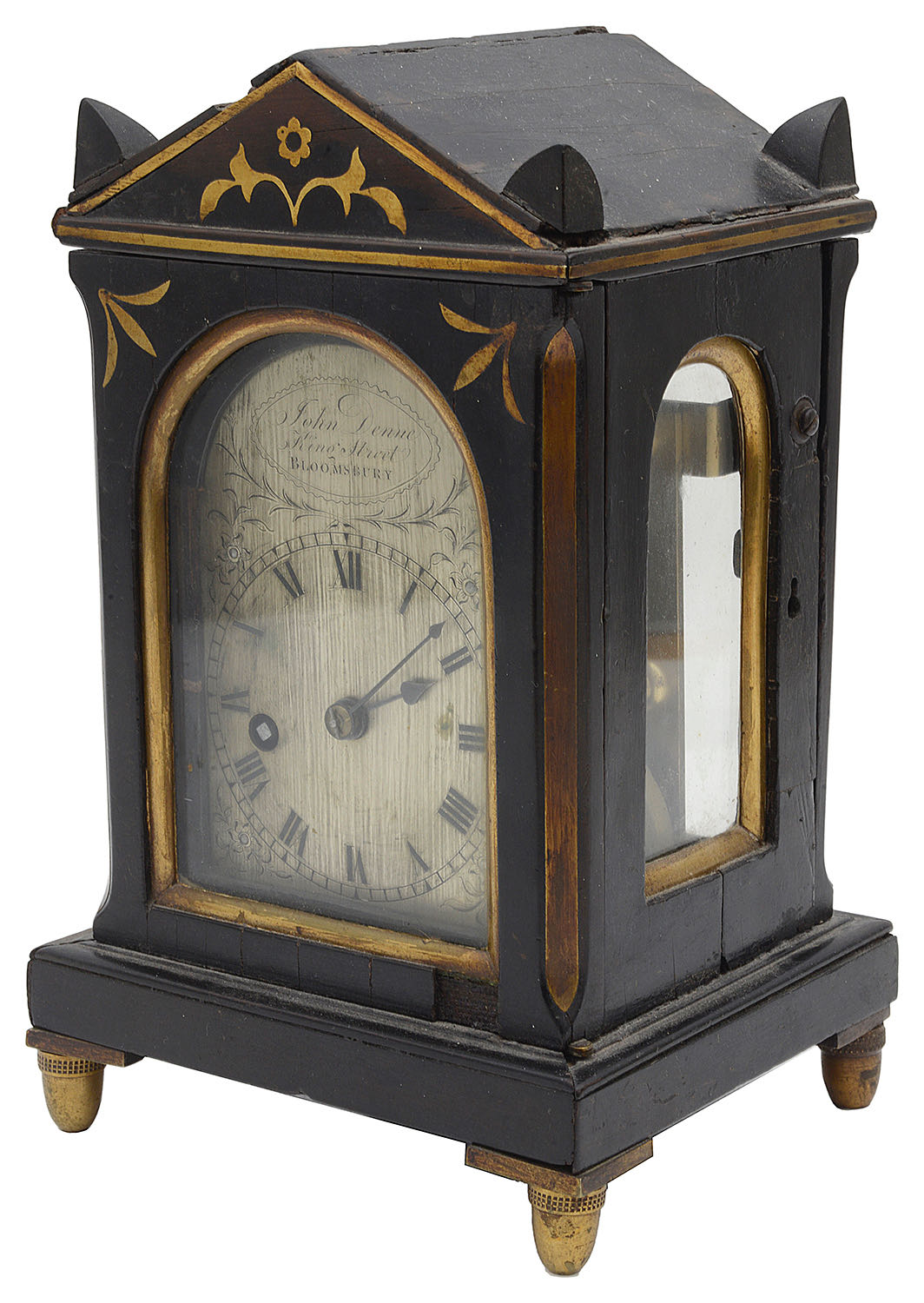 Lot 27 - A Regency rosewood and brass mantel architectural timepiece
