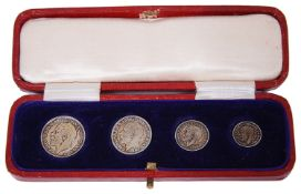 A George V cased four coin set of Maundy Money