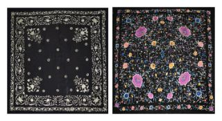 Two early 20th century Chinese embroidered black silk shawls