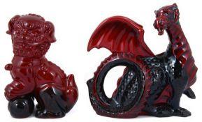 Royal Doulton flambé dragon and Dog of Fo