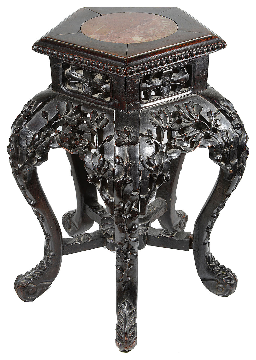 Lot 7 - A late 19th c Chinese carved hardwood low stand or occasional table