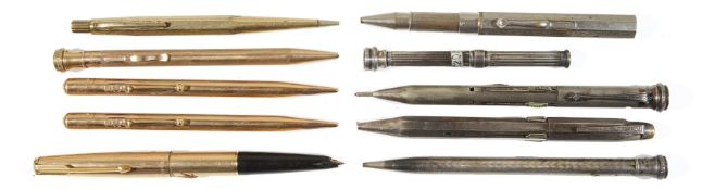 A large collection of mid 20th c propelling pencils and miscellaneous fountain and ball point pens