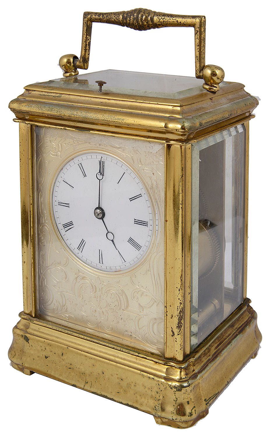 Lot 26 - A late 19th century French gilt brass repeating carriage clock