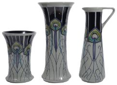 Three pieces of modern Moorcroft pottery in 'Peacock Parade' pattern designed by Nicola Slaney