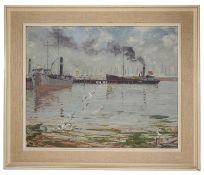 David Birch (Brit. 1945) 'On Southampton water' oil on board