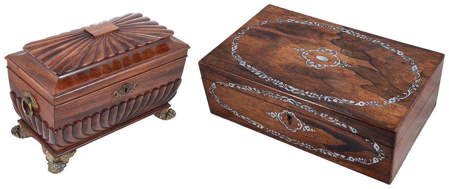 Lot 11 - A Regency mahogany tea caddy and a rosewood and mother of pearl inlaid writing slope