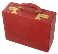 A Tanner Krolle red leather jewellery case c.1990