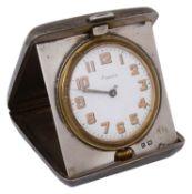 A George V silver cased folding travel clock