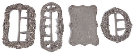 Four Victorian and later silver buckles
