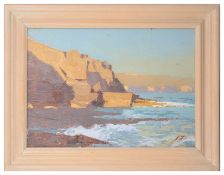 James Fry (Brit., 1911-1985) 'Evening Sun on Loading Rock, Secombe', oil on board