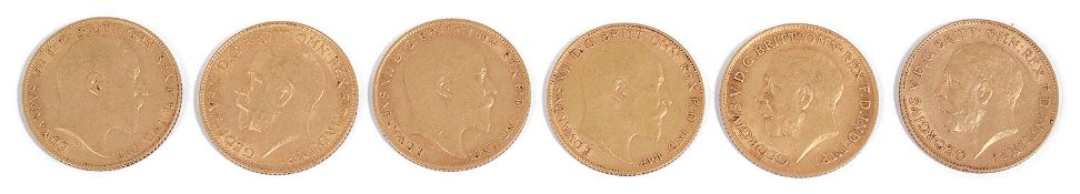 Six Edward VII and George V half sovereigns