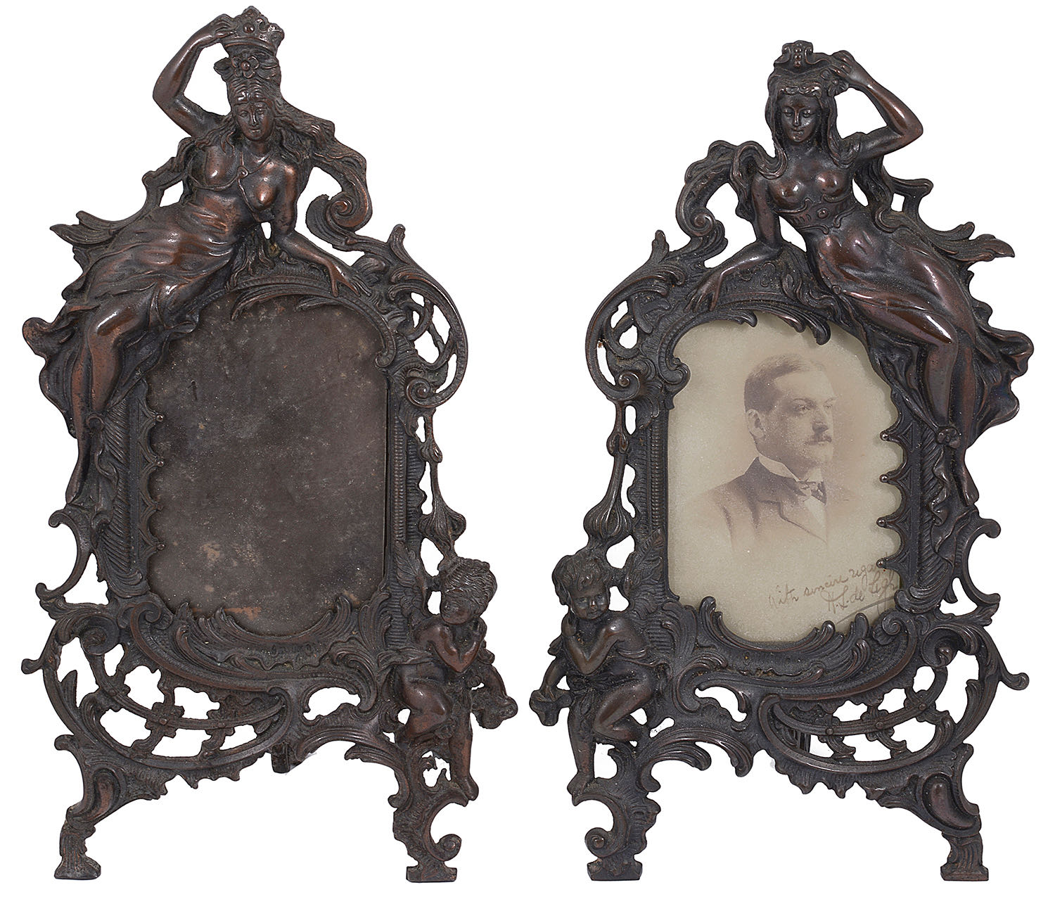 Lot 9 - A pair of late Victorian patinated spelter photograph frames