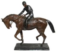 After Isidore Bonheur (1827- 1901), Racehorse with jockey, bronze