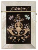 A 19th Century mother of pearl, gold and tortoiseshell inlay card case