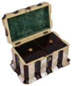 A Victorian tortoiseshell and mother-of-pearl veneered tea caddy