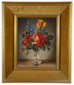 James Noble (Brit. 1919-1989) 'Red and yellow roses', oil on canvas, signed