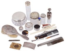 A selection of early 20th c. mostly silver items of vertu and mostly silver dressing table items