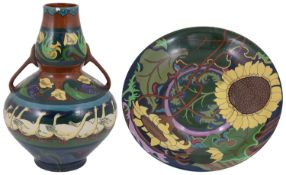 A late 19th c. Wileman & Co Foley vase and a wall plate designed by Frederick Rhead