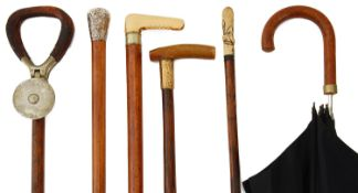 Victorian and later walking sticks and an early 20th c. Paragon S. Fox & Co umbrella