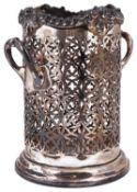 An Edward VII twin handled silver wine bottle or syphon stand