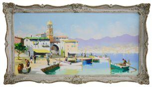 Cecil D'Oyly John (Brit. 1906 -1993), 'St. Tropez, Fr. Riviera', oil on canvas, signed