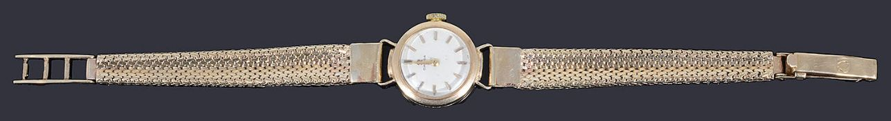A ladies 9ct gold Omega mechanical bracelet watch