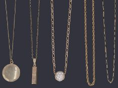 Five assorted gold necklaces and three with pendants,
