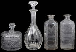 A George III cut glass pot and cover; pair of early 19th c. spirit decanters; Victorian decanter