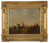 Early 19th c. Flemish school 'Cockerel and hens in a landscape' a pair, oil on panel