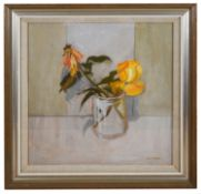 David Mcleod Martin RSW RGI (Scot. b.1922) Study of yellow roses in a vase', oil board, signed