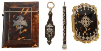 Collection of 19th c. tortoiseshell and pique work items to include a pair of French lorgnettes