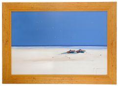 John Horsewell (Brit. b.1956) 'Deserted beach', oil on canvas, signed bottom right, framed