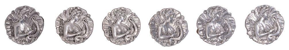A set of six Edwardian Art Nouveau silver buttons