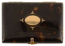 A 19th Century gold and tortoiseshell aide-memoire travelling case