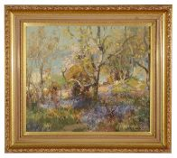 Thomas Bromley Blacklock (Brit. 1863-1903) 'Hyacinths and Sloe' oil on board, signed lower right