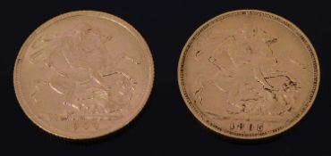 A Victoria full sovereign and an Edward VII full sovereign