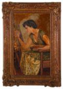 Fortunino Matania RI (1881-1963) Italian 'Beryl at her easel' oil on canvas, signed