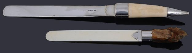 A late Victorian silver page turner with walrus tusk handle; one other