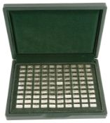 A cased set of '100 Greatest Cars' 925/1000 silver miniature ingots by John Pinches ltd