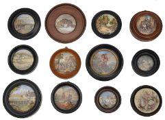 A collection of twelve 19th century Prattware pot lids