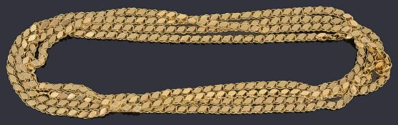 An 18ct gold long fancy link neck chain