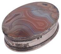 A George IV silver mounted agate snuff box