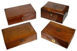 A Victorian burr walnut sewing box, a 19th c. mahogany writing slope and two other boxes