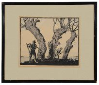 Eric Hesketh Hubbard (Brit. 1892-1957) 'Hay Cutters' signed in pencil lower right, woodcut