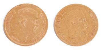 A gold Serbian 10 dinara coin dated 1882