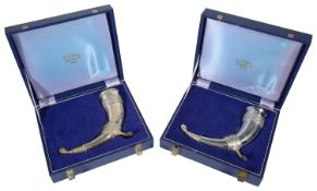 A pair of Elizabeth II silver commemorative ryhtons or drinking horns