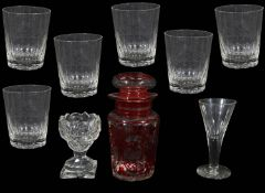 A set of six 19th c. cut crystal tumblers and other 19th c. glass