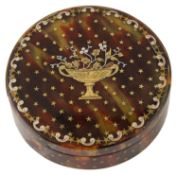 A late 18th/early 19th c. gold and silver pique work tortoiseshell snuff box